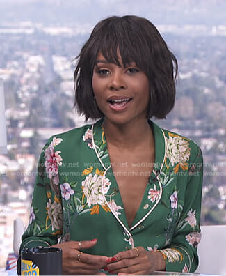 Zuri's green floral pajama shirt on E! News Daily Pop