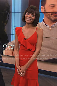 Zuri's red asymmetric ruffle dress on E! News