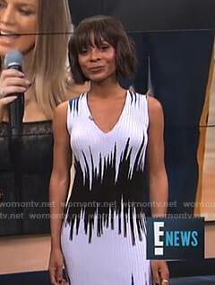 Zuri's blue and black ribbed dress on E! News