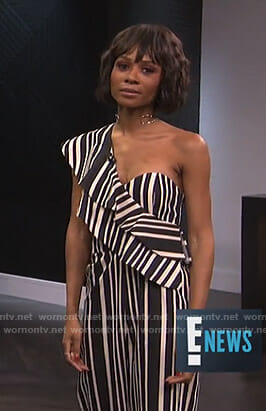 Zuri's striped one-shoulder jumpsuit on E! News
