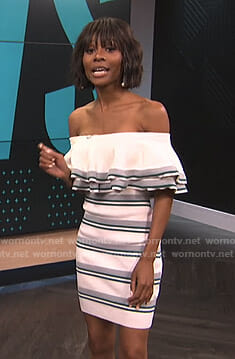 Zuri's white striped off-shoulder dress on E! News