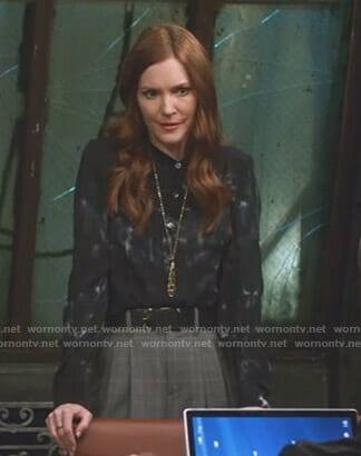 Abby's black tie dye blouse on Scandal