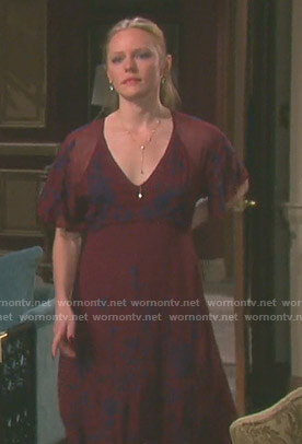 Abigail's red floral embroidered dress on Days of our Lives