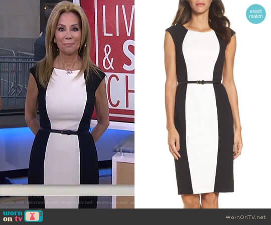 Colorblock Crepe Sheath Dress by Adrianna Papell worn by Kathie Lee Gifford (Kathie Lee Gifford) on Today