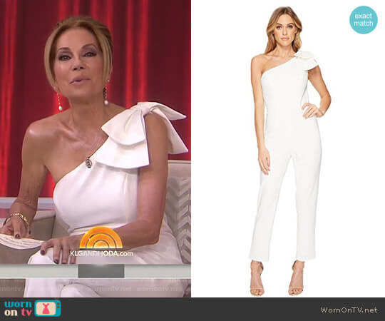 One-Shoulder Jumpsuit with Bow Detail by Adrianna Papell worn by Kathie Lee Gifford  on Today