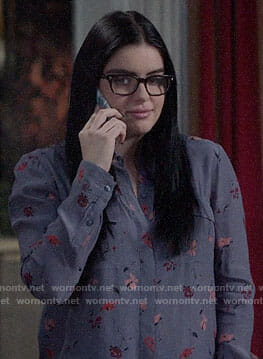 Alex's purple floral button down shirt on Modern Family