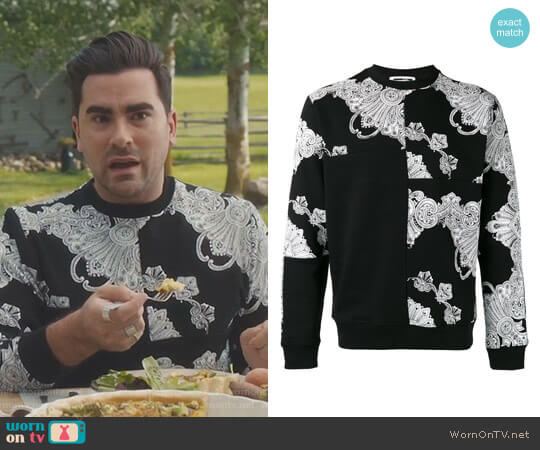 Phoenix Paisley Printed Sweatshirt by McQ Alexander Mcqueen  worn by David Rose (Daniel Levy) on Schitts Creek