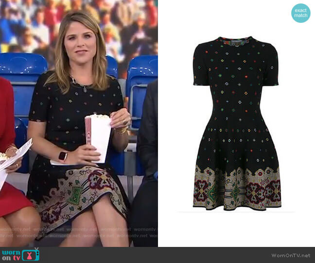 Intarsia Dress 2017 Collection by Alexander Mcqueen worn by Jenna Bush Hager (Jenna Bush Hager) on Today