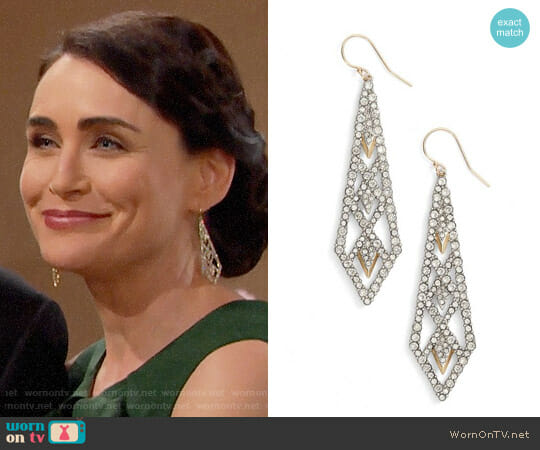 Alexis Bittar Crystal Encrusted Drop Earrings worn by Rena Sofer on The Bold & the Beautiful