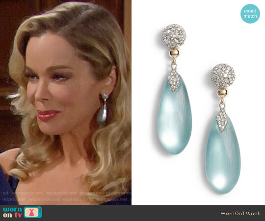 Alexis Bittar Crystal Encrusted Lucite  Drop Earrings worn by Jennifer Gareis on The Bold & the Beautiful