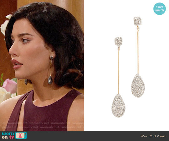 Alexis Bittar Crystal Drop Earrings worn by Steffy Forrester (Jacqueline MacInnes Wood) on The Bold & the Beautiful