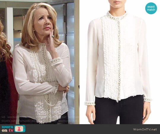 Alice + Olivia Arminda Blouse worn by Nikki Reed Newman (Melody Thomas-Scott) on The Young & the Restless