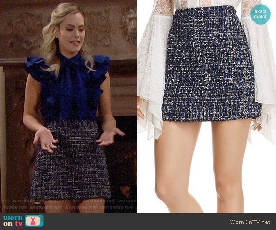 Alice + Olivia Riley Tweed Skirt worn by Annika Noelle on The Bold & the Beautiful