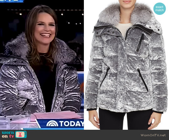 'Vara' Velvet Down Coat by Andrew Marc worn by Savannah Guthrie on Today