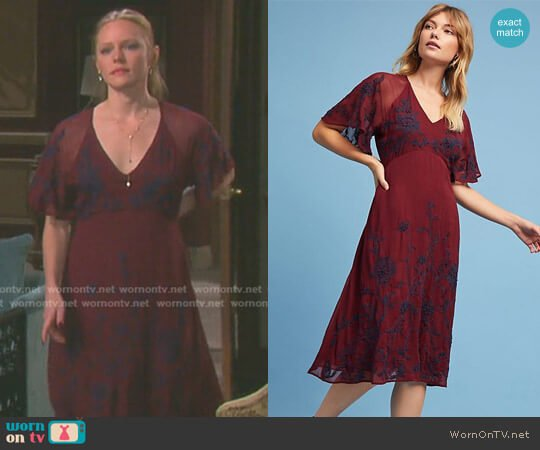 Francoise Embroidered Dress by Anthropologie worn by Marci Miller on Days of our Lives
