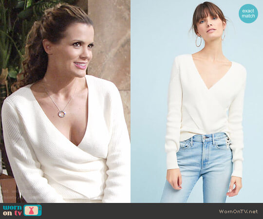 Moth Wrapped V-Neck Sweater worn by Melissa Claire Egan on The Young & the Restless
