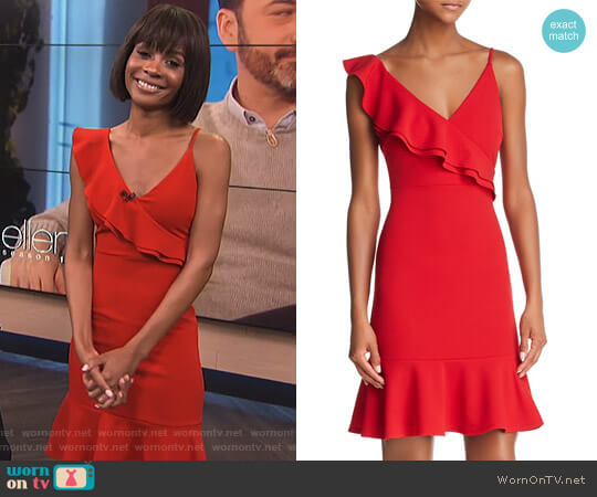 Ruffled V-Back Dress by Aqua worn by Zuri Hall on E! News
