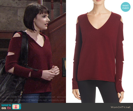 Aqua Cashmere V-Neck Slash-Arm Sweater worn by Cait Fairbanks on The Young & the Restless