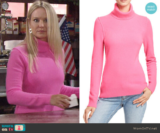 Aqua Turtleneck Cashmere Sweater worn by Sharon Collins (Sharon Case) on The Young & the Restless