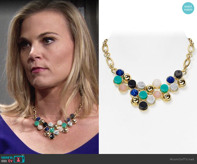 Aqua  Rina Bib Necklace worn by Gina Tognoni on The Young & the Restless