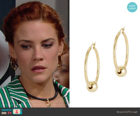 Argento Vivo Gold Ball Hoops worn by Sally Spectra (Courtney Hope) on The Bold & the Beautiful