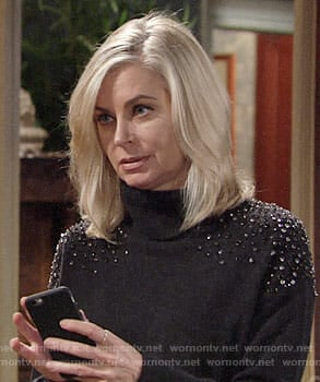 Ashley's grey turtleneck sweater with embellished shoulders on The Young and the Restless