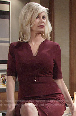 Ashley's dark red belted dress on The Young and the Restless