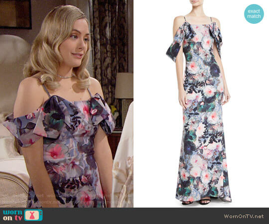 Badgley Mischka Tie-Sleeve Floral-Print Long Gown worn by Annika Noelle on The Bold & the Beautiful