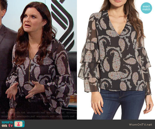 Bailey 44 Top Billing Ruffle Blouse worn by Heather Tom on The Bold & the Beautiful