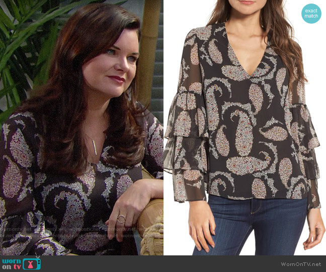 Bailey 44 Top Billing Ruffle Blouse worn by Katie Logan (Heather Tom) on The Bold & the Beautiful