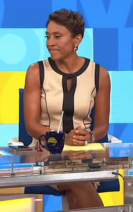 Robin's beige and black keyhole dress on Good Morning America