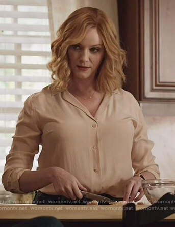 Beth's beige silk shirt on Good Girls