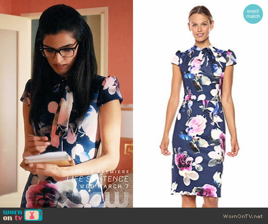 Betsey Johnson Scuba Midi with Neck Tie Dress worn by Shelly Bhalla on Jane the Virgin