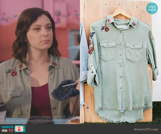 Embroidered Shirt by Billy T worn by Rachel Bloom on Crazy Ex-Girlfriend