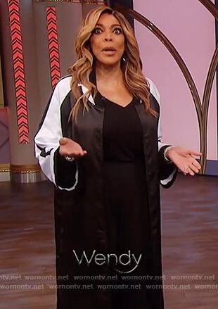 Wendy's black and white kimono jacket on The Wendy Williams Show