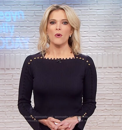 Megyn's black button embellished top on Megyn Kelly Today