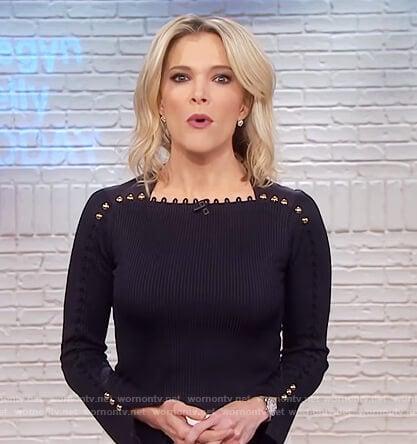 Megyn's black button embellished top on Megyn Kelly Today