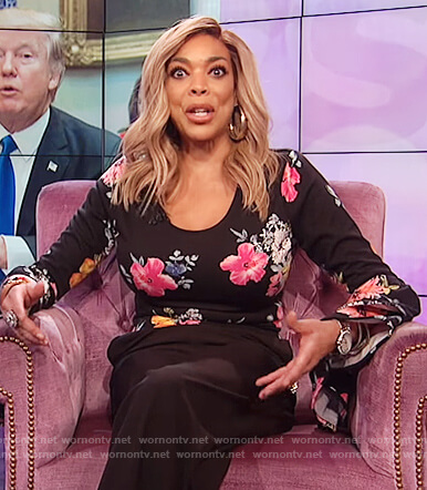 Wendy's black floral print bell sleeve top on The Wendy Williams Show