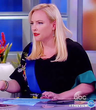 Meghan's black floral wrap jumpsuit on The View