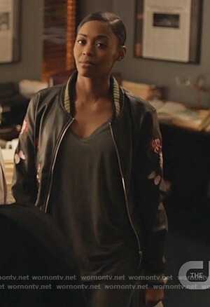 Anissa's black embroidered bomber jacket on Black Lightning