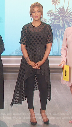Eve's black polka dot top on The Talk