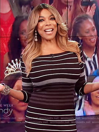 Wendy's black striped off shoulder dress on The Wendy Williams Show