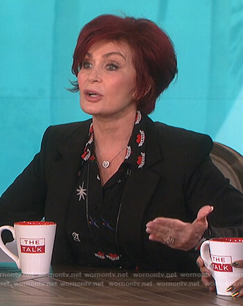 Sharon's black tattoo print shirt on The Talk