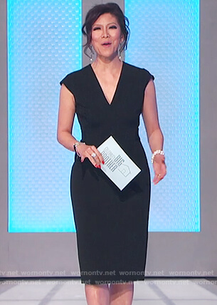 Julie's black v-neck sheath dress on Celebrity Big Brother