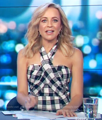 Carrie's check cross neck jumpsuit on The Project