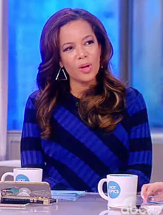 Sunny's blue and black striped ribbed dress on The View