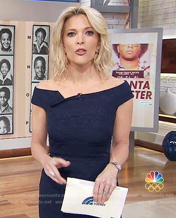 Megyn's blue textured off shoulder dress on Megyn Kelly Today