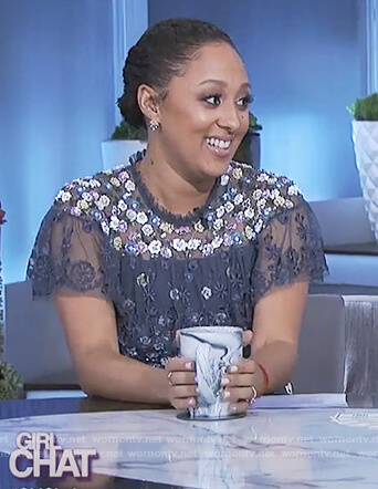 Tamera's blue embroidered ruffle dress on The Real