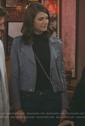 Leslie's blue moto jacket on Living Biblically