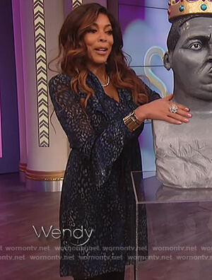 Wendy's blue leopard print ruffle dress on The Wendy Williams Show